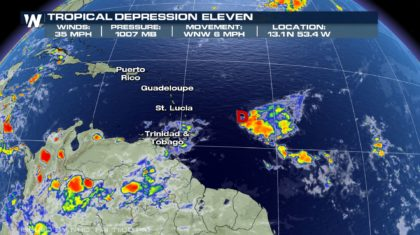 Tropical Depression Forms East of the Caribbean
