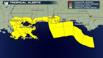 Tropical Storm Watches In Effect Along The Gulf
