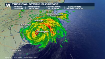Florence Nearly Stalls, Becomes Tropical Storm