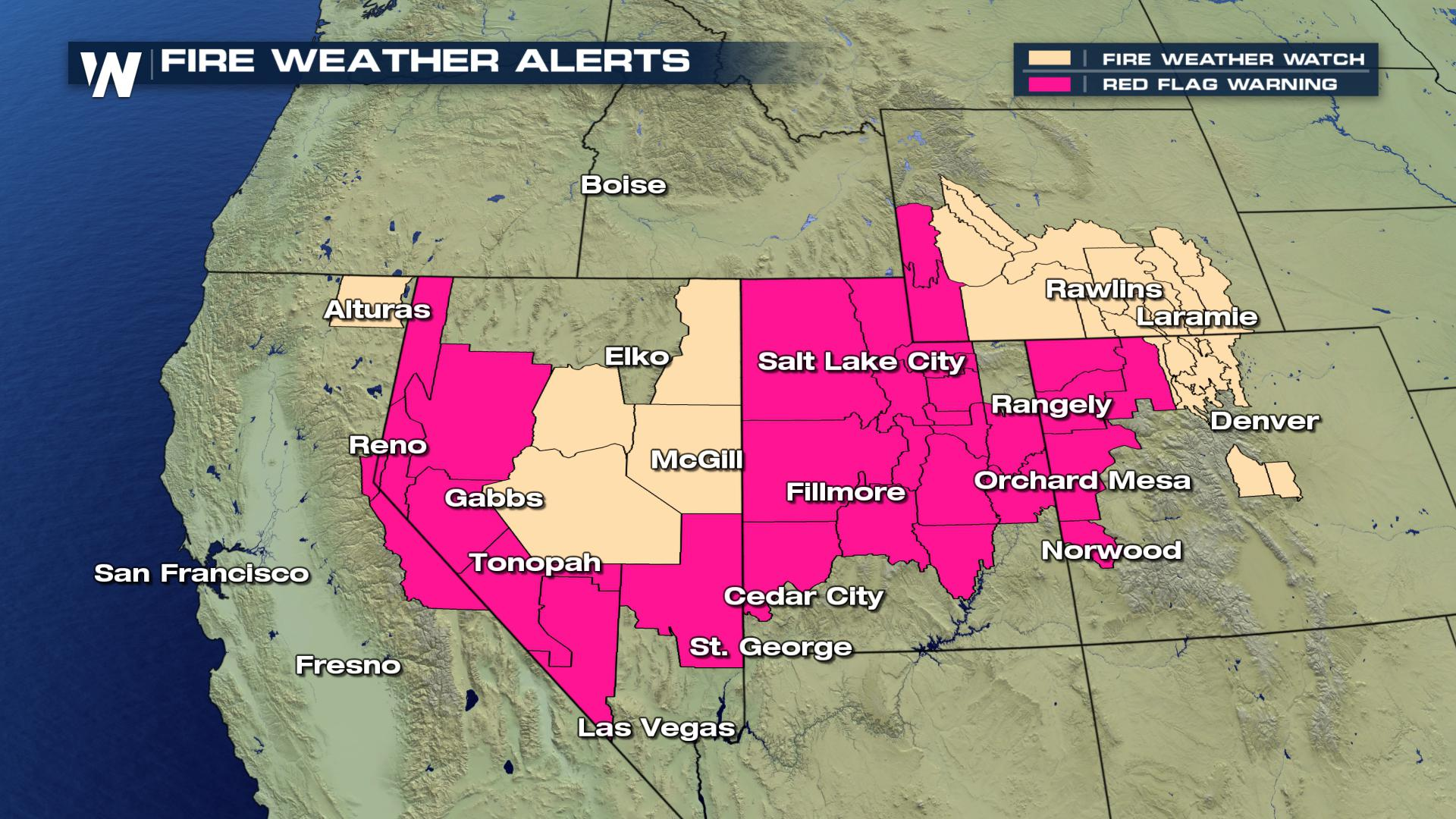 Red Flag Warnings for Parts of Western United States