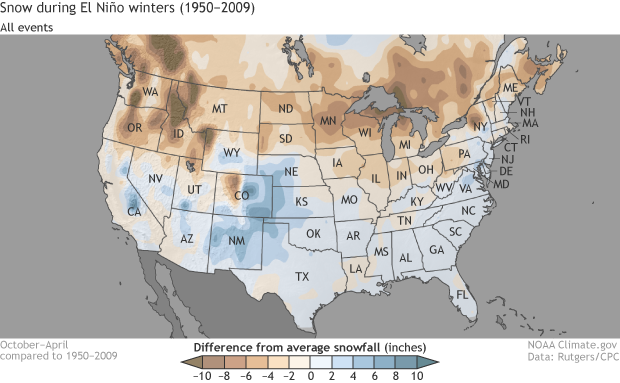Comparing Seasonal Snowfall During Previous El Nino Winters - Map-of-us-snowfall