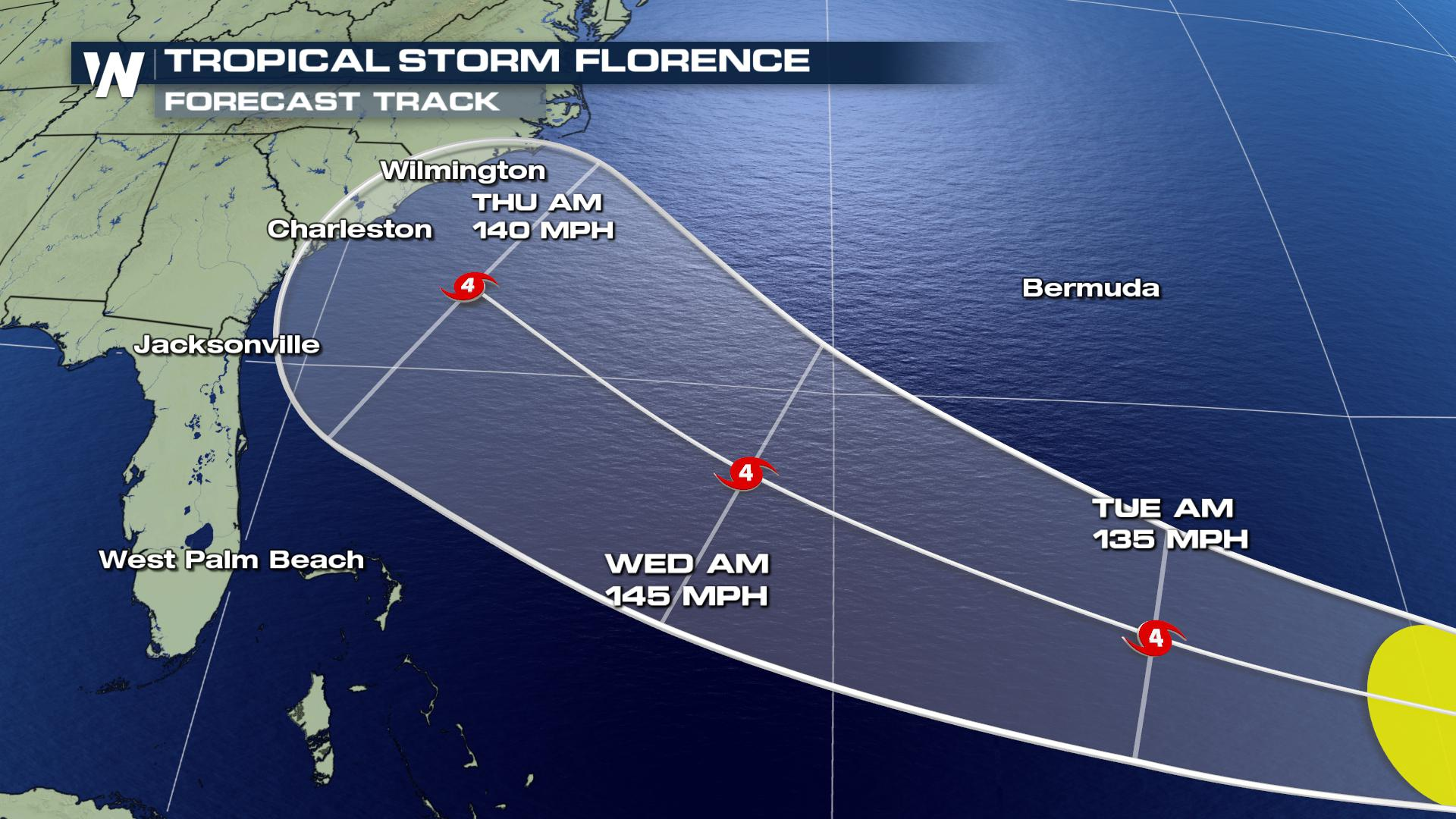 Heads Up - An Increasing Risk of Florence Directly Impacting