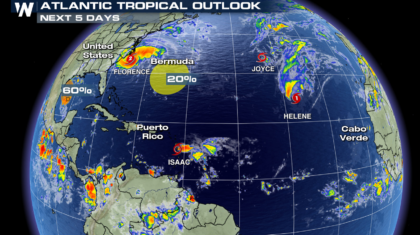 Tropical Storm Isaac Moving Through the Leeward Islands