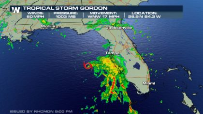 Tropical Storm Gordon Could Become Hurricane Soon