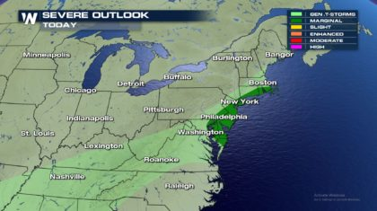 Isolated Severe Storms for the Northeast Monday