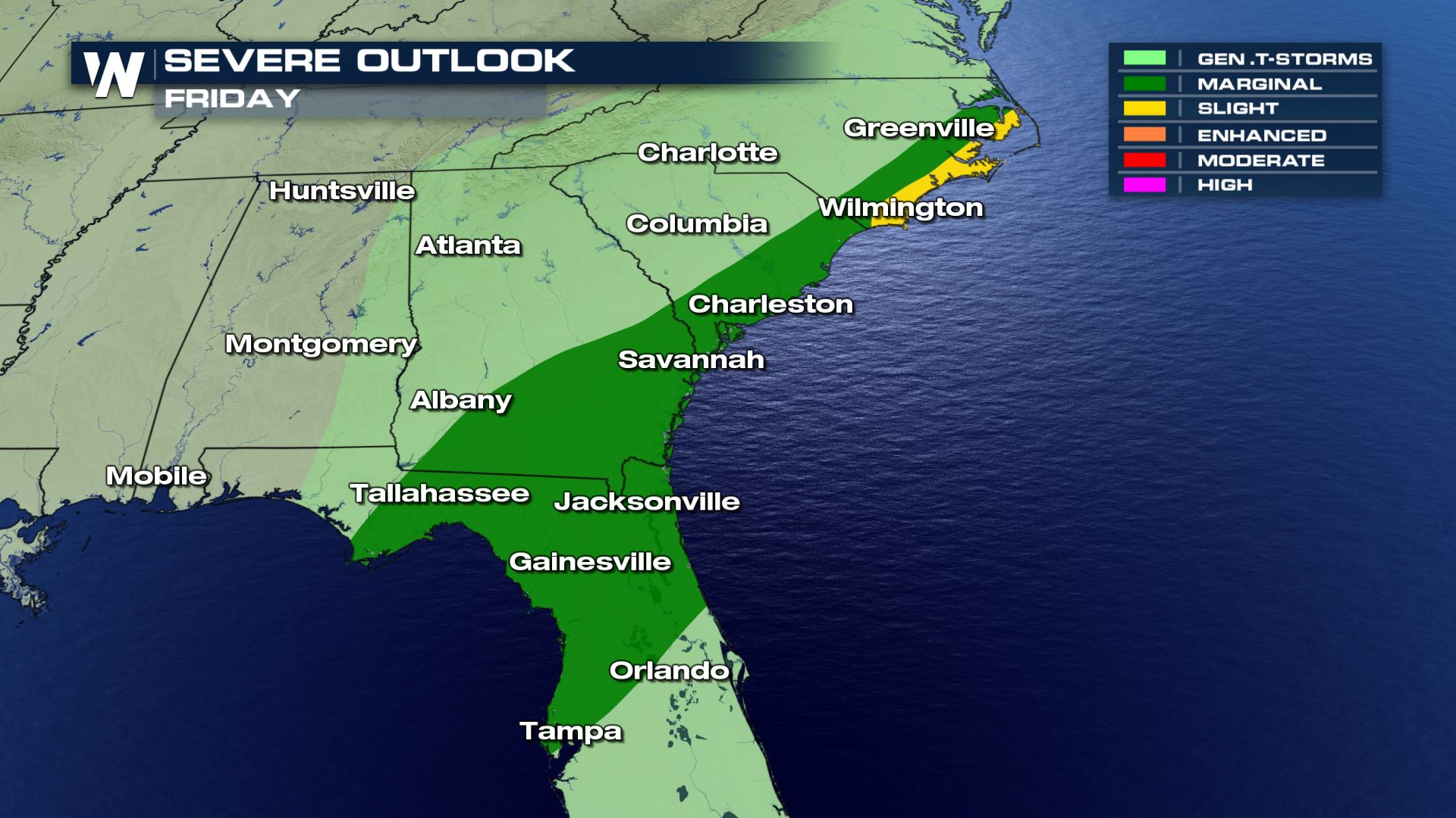 Severe Weather Chances for the Southeast Friday