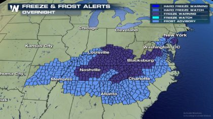 UPDATE: Freeze & Frost Alerts Extended South