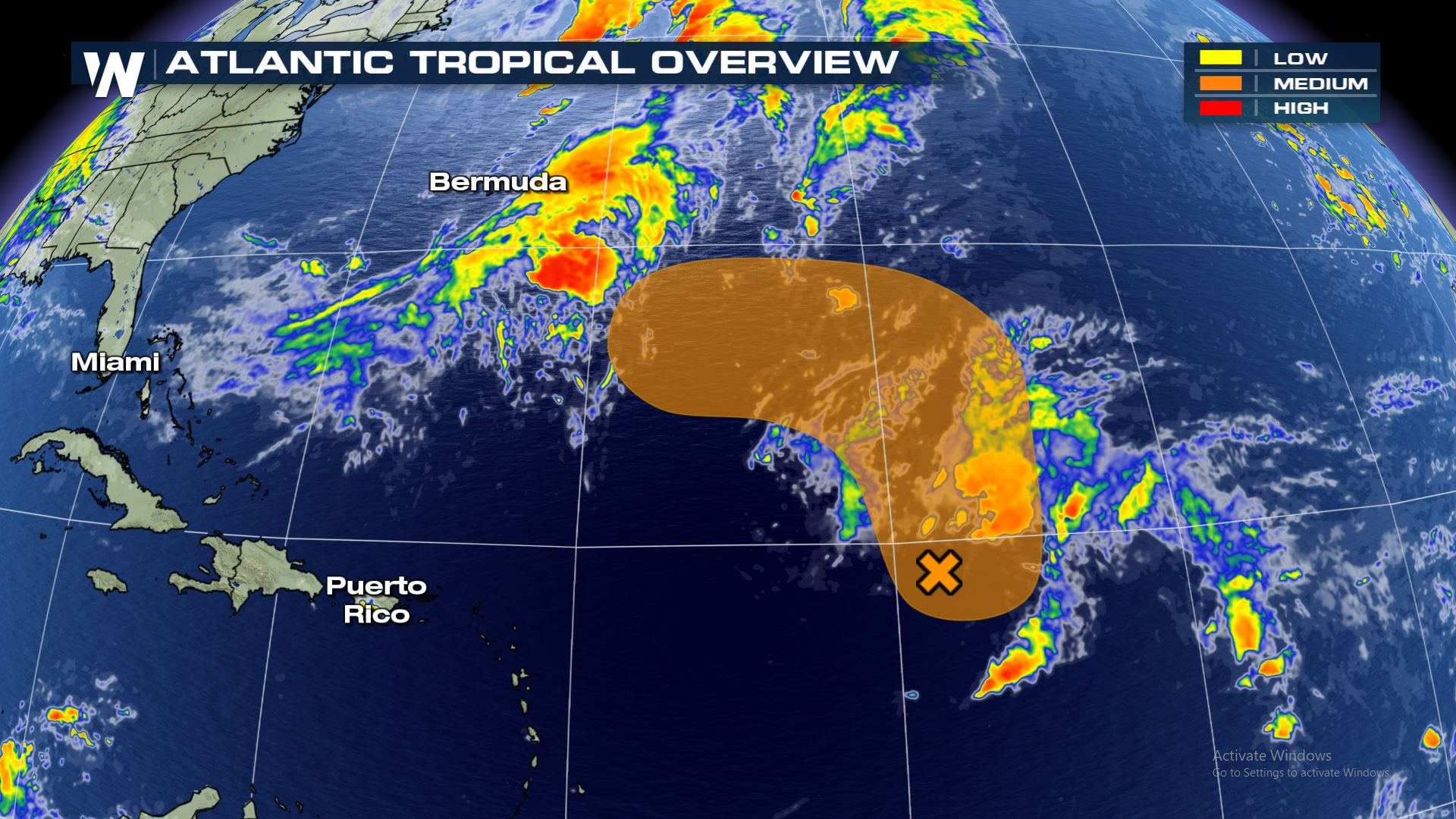 Area of Tropical Concern in Central Atlantic