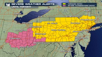 Severe Weather Watches Posted Across Northeast