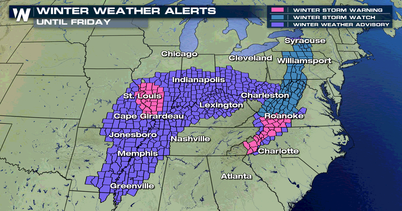 Snow and Wintry Mix Ahead from the Mid-South to the Appalachians
