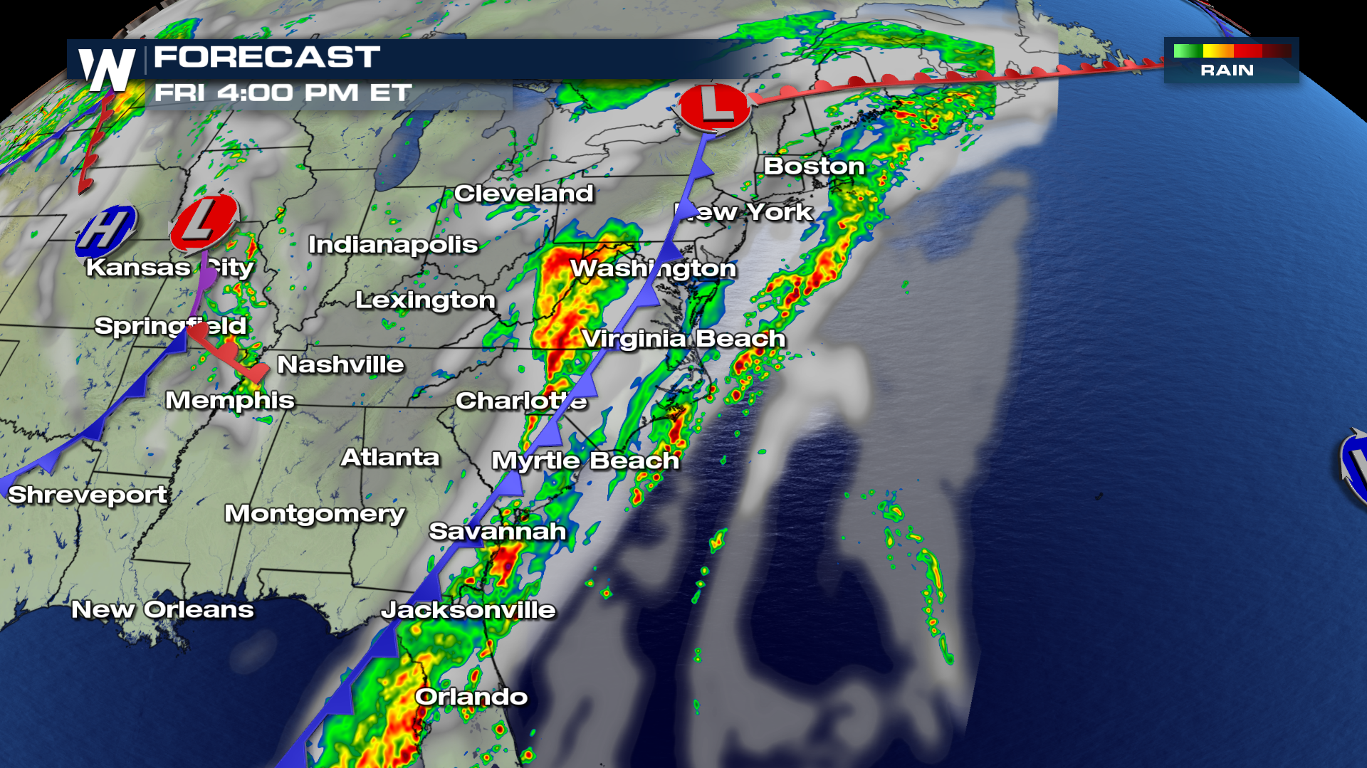 weather map of east coast Severe Weather Threats Continue Along East Coast Weathernation weather map of east coast