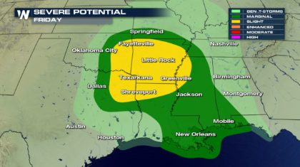 Severe Weather Potential for the South on Friday