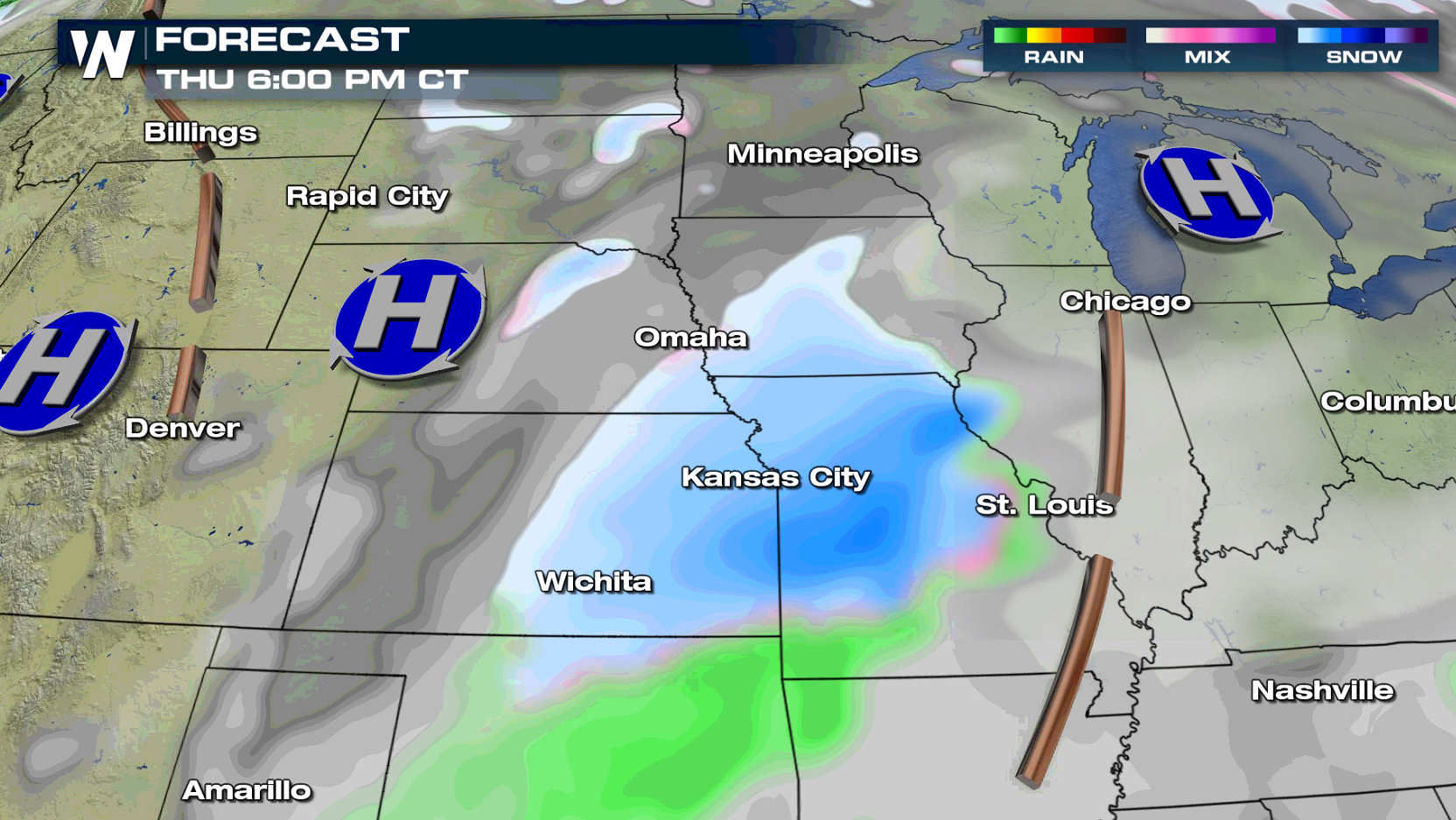 Snowfall Accumulations Ahead in the Central Plains