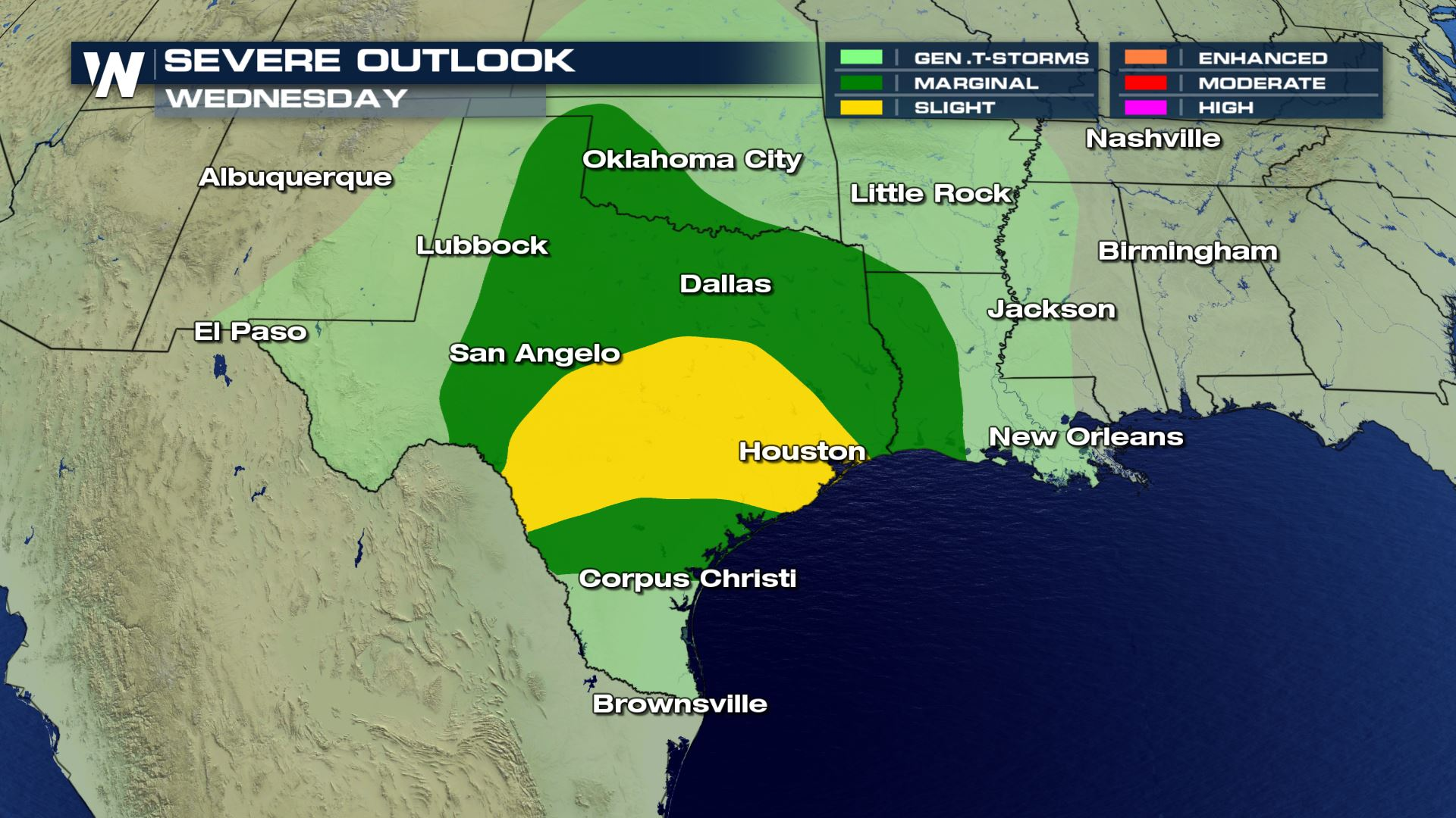 Severe Storms Likely Across Texas Wednesday - WeatherNation on weather houston map, weather mobile map, weather chicago map, weather united states map, weather jakarta map, weather tucson map, weather texas map, weather ohio map, weather boston map, weather florida map, weather dallas map, weather paris france map, weather california map, weather orlando map, radar weather map, weather edmonton alberta map, weather colorado map, weather springfield il map, weather virginia map, weather las vegas map,