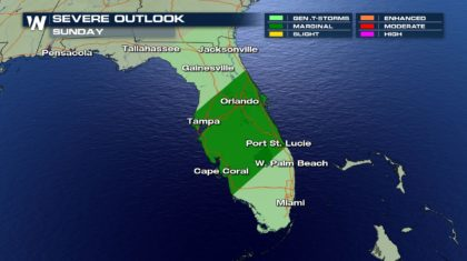 Active Weather for Florida Sunday
