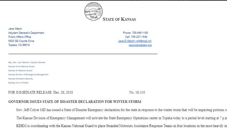 WINTER STORM: Kansas Governor Declares State Of Disaster Emergency