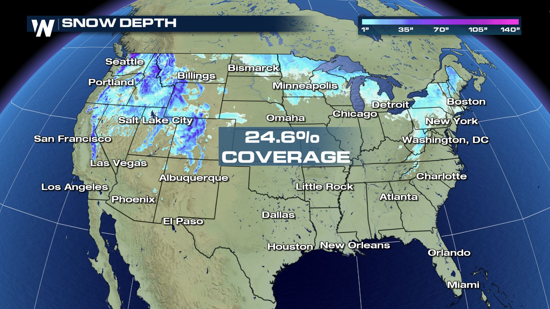 Us Snow Coverage Map Lowest Christmas U.S. Snow Coverage Since 2005   WeatherNation