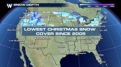 Lowest Christmas U.S. Snow Coverage Since 2005
