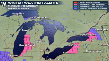 Heavy Lake Effect Snow in the Great Lakes