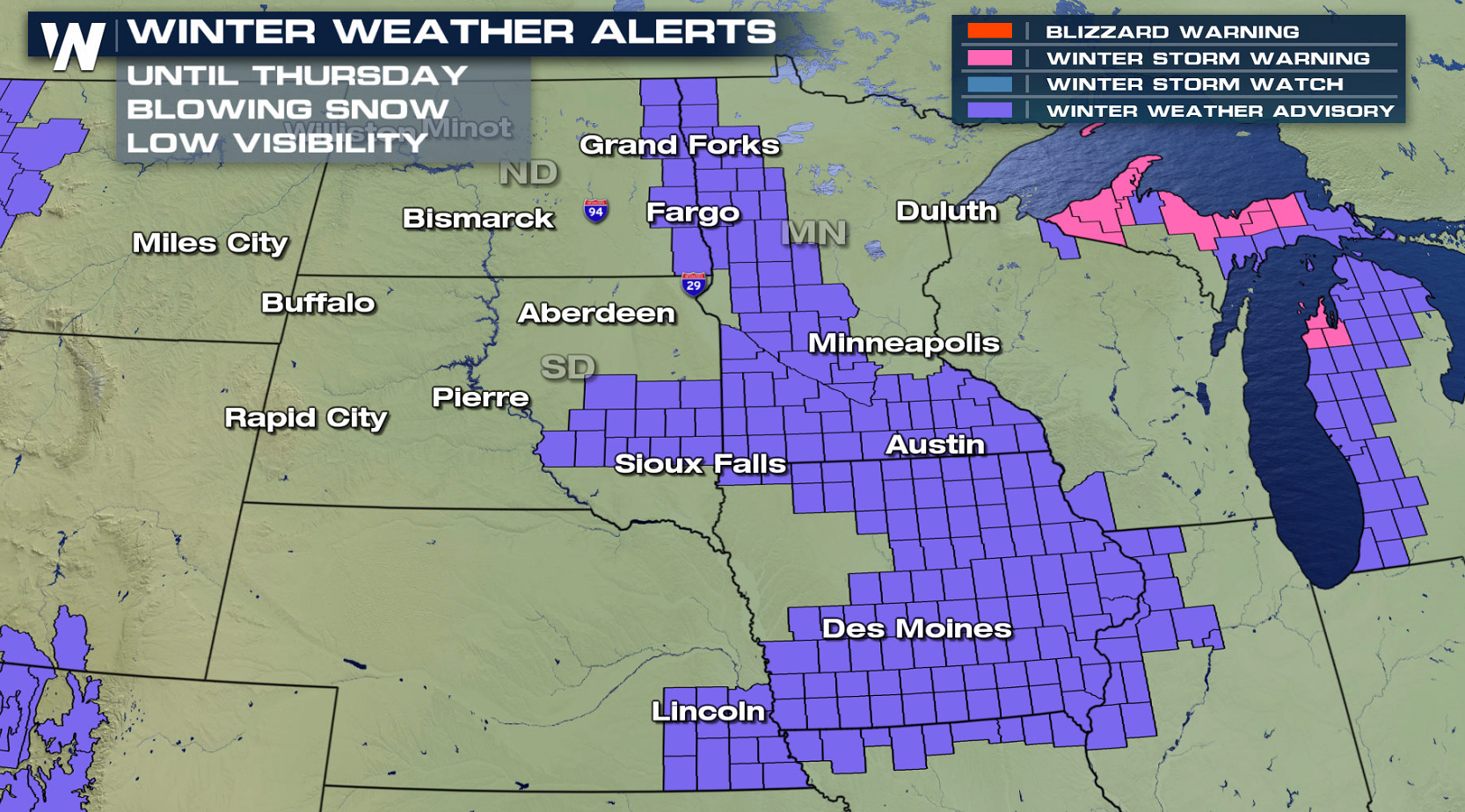 Blizzard Conditions Improving in the Northern Plains