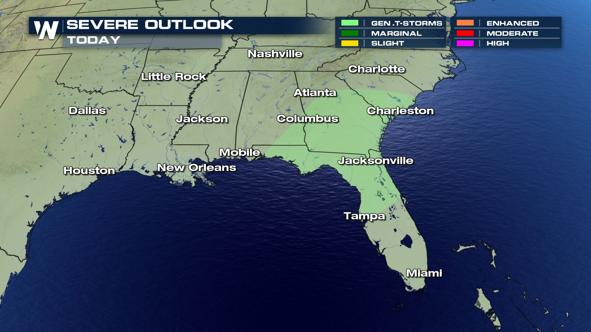 Strong Storms And Heavy Rain For The Southeast Sunday