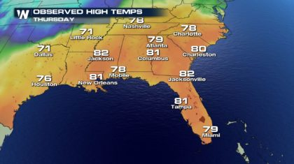 Record Highs in the 80's Warm the Southeast