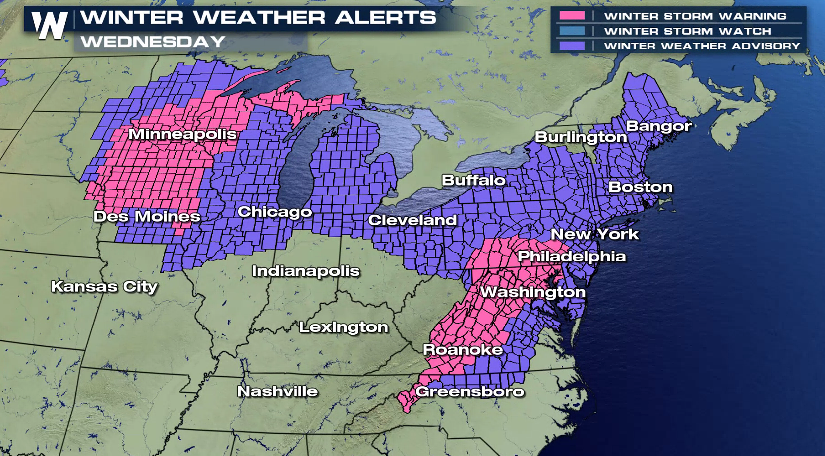 Mid Atlantic Weather Map.Snow Ice From The Midwest To The Northeast Weathernation