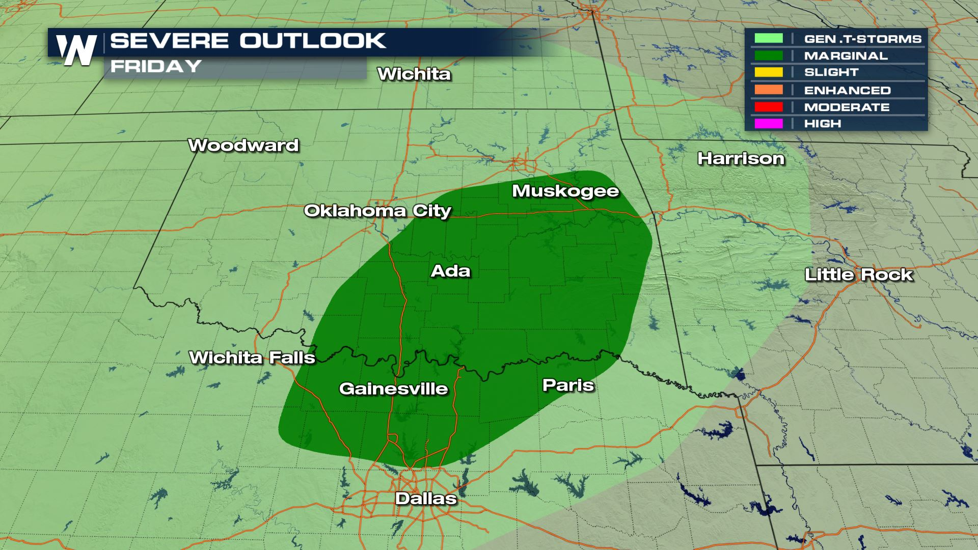 Map Of North Texas And Oklahoma.Severe Storm Chance For Parts Of Texas And Oklahoma On Friday