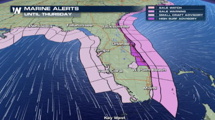 High Surf, Wet & Windy Wednesday for Portions of Florida