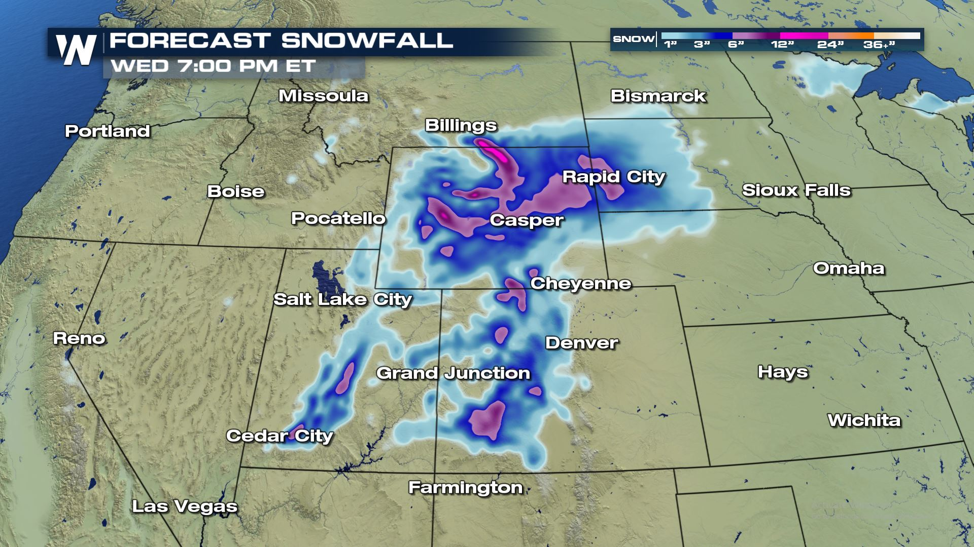 More Heavy Snow for the Rockies Wednesday