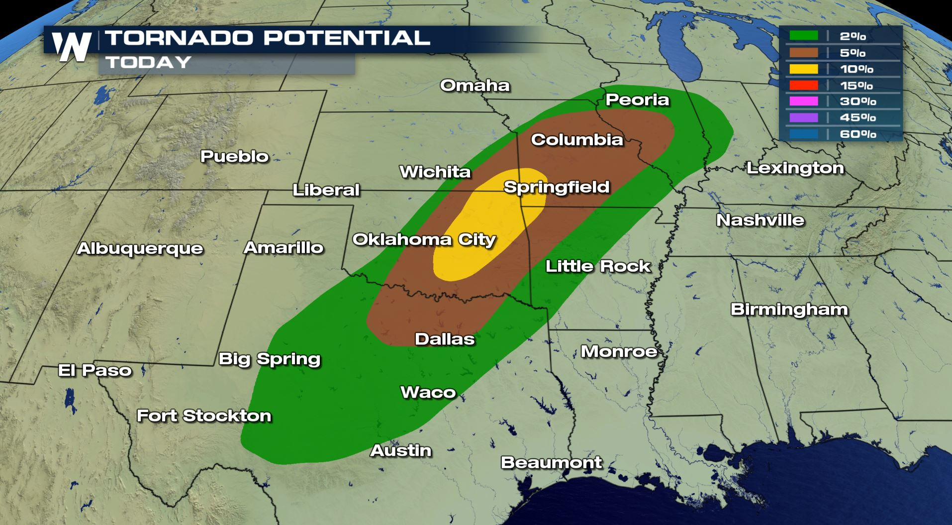 Map Of Tornadoes Today Tornado Risk Today for Oklahoma, Kansas and Missouri   WeatherNation