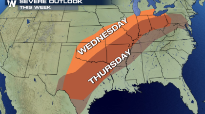Plains to Mid Atlantic Severe Weather Threat This Week