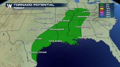 Severe Storms Sunday from East Texas to the Ohio Valley