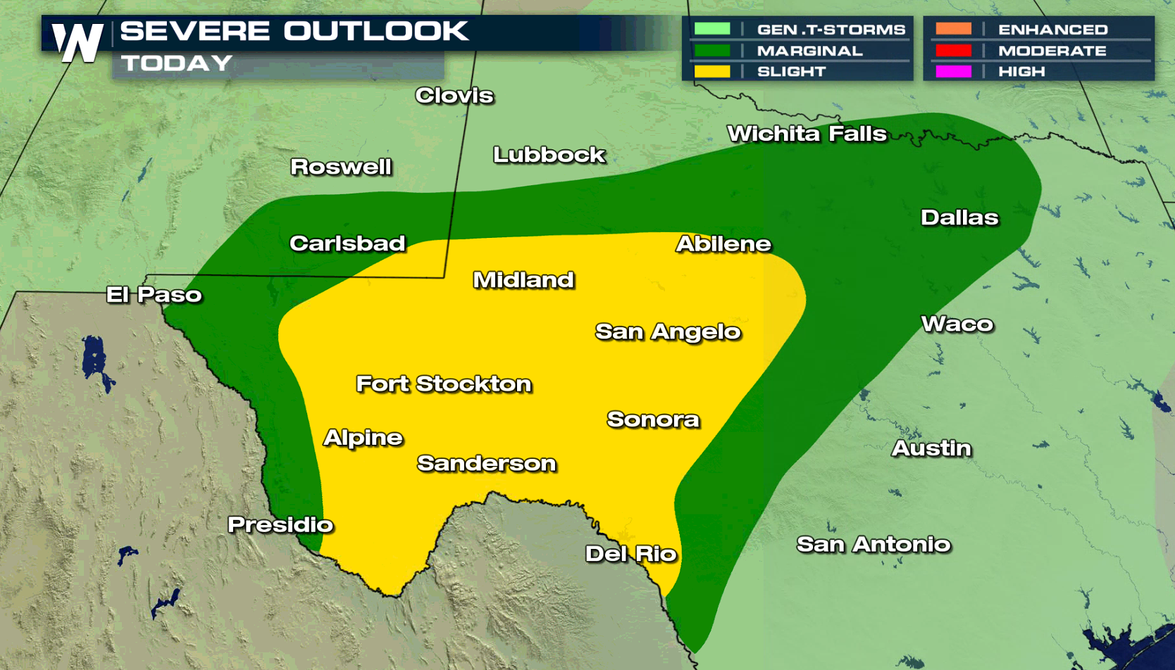 Map Of Texas Storms.Potential For Severe Storms In Texas This Week Weathernation