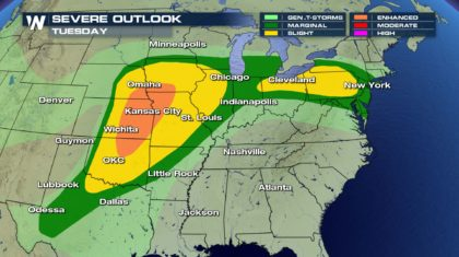 Severe Weather Extended into Tuesday