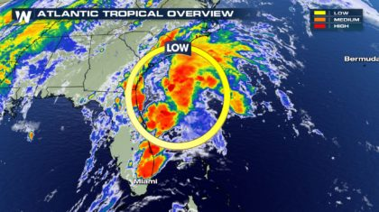 Tropics: Low Pressure Slides Nearby Carolinas Saturday