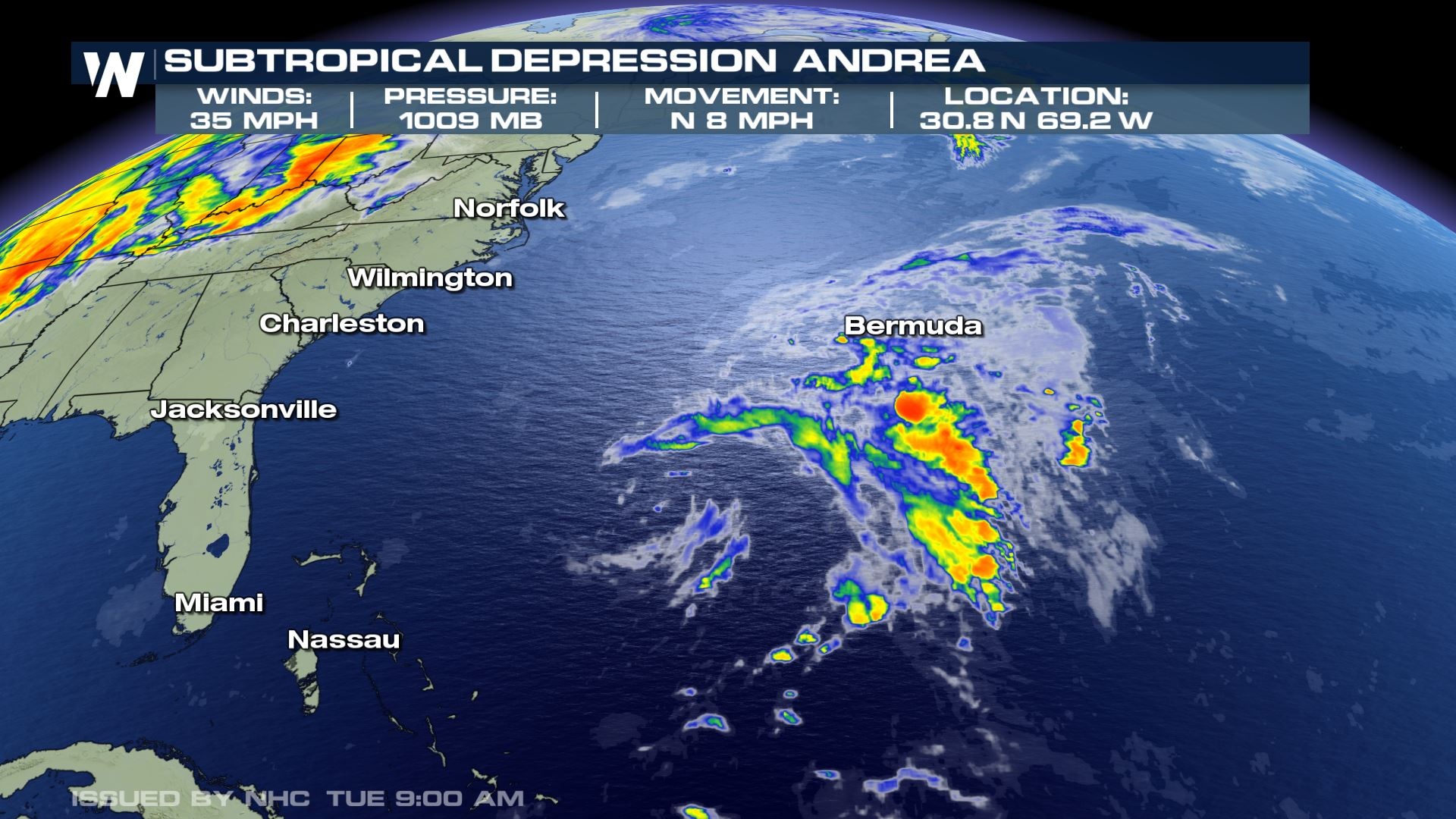 Andrea Forms in the Atlantic Basin