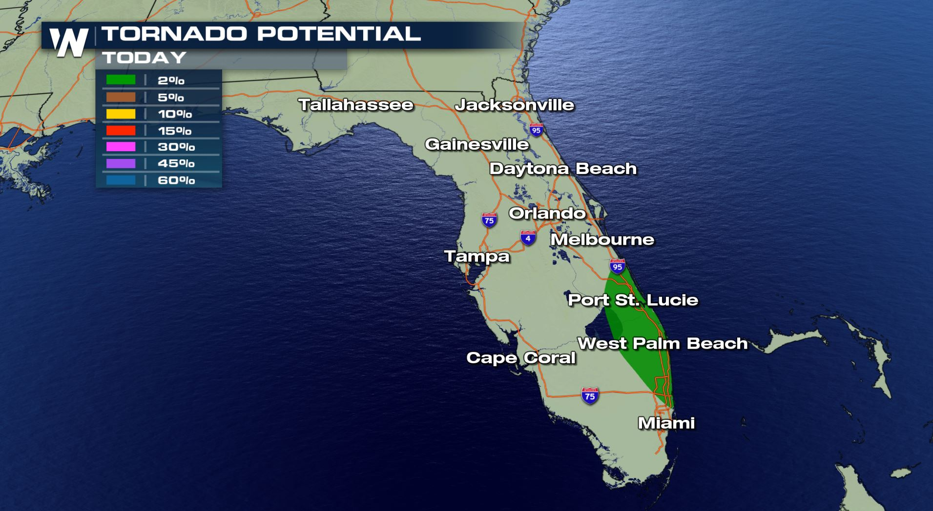Map Of Southeast Florida Beaches.Tornado Risk Along The Florida Coast Tuesday Weathernation