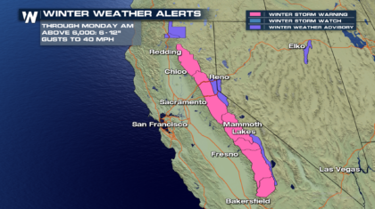 Sierra Snow Continues Through the Weekend