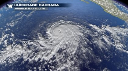Hurricane Barbara Continues to Strengthen
