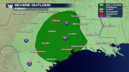 Marginal Risk for Severe Storms in the South