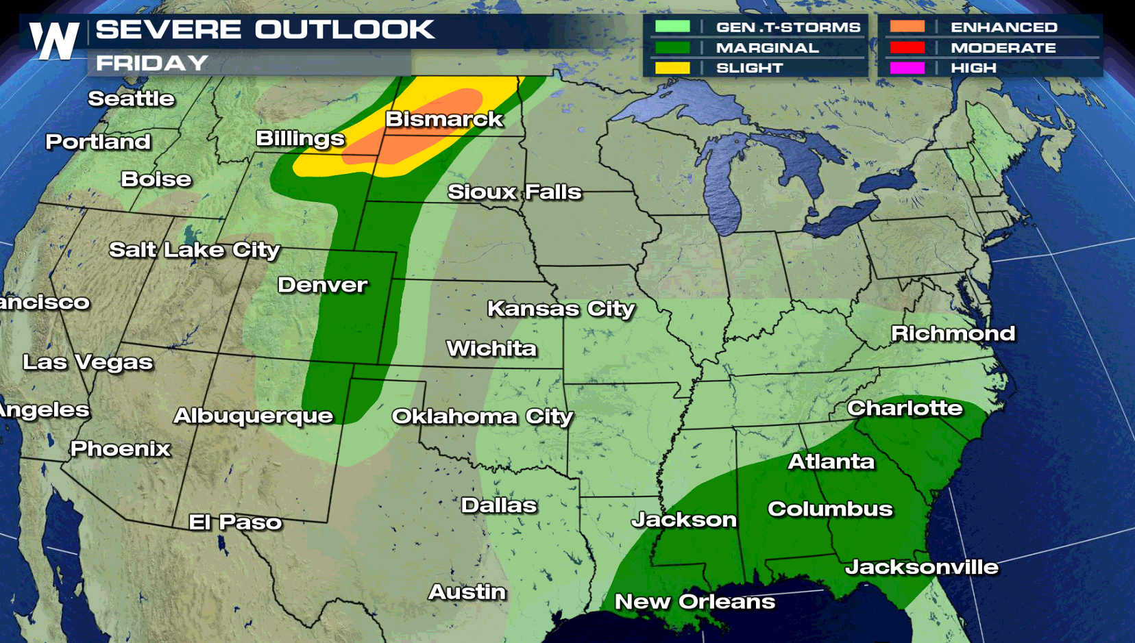 Severe Weather Targets High Plains and Southeast Friday