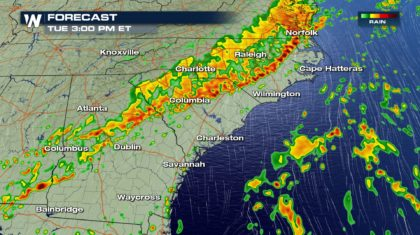 Damaging Wind Threat in the Southeast and Mid-Atlantic Tuesday