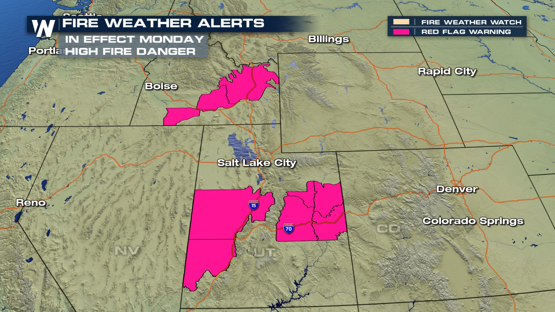 Fire Weather Risk for Areas of Utah and Idaho Monday