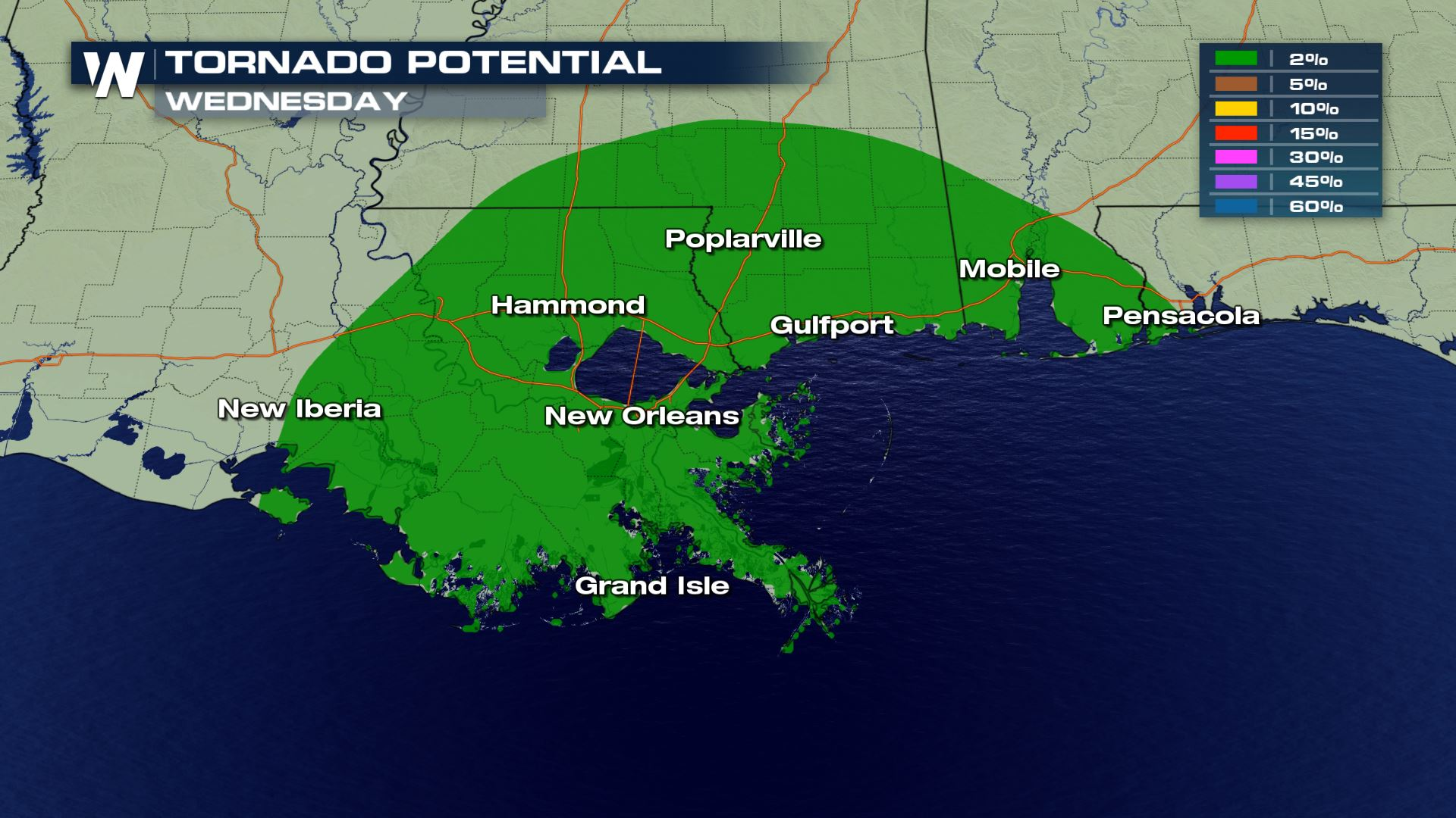 Isolated Severe Storms for the Gulf Coast Wednesday