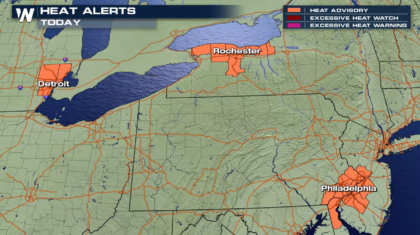 Heat Advisories for Detroit, Philadelphia, and Rochester