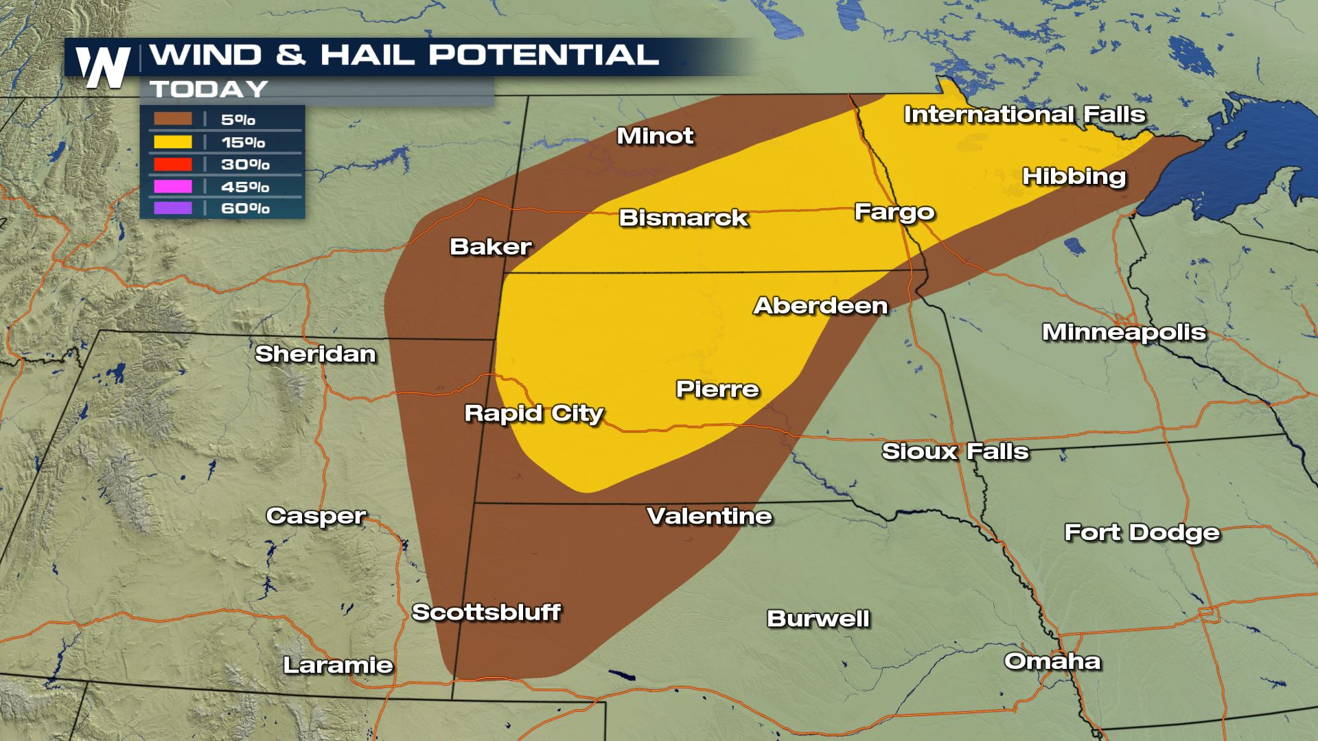 Hail And Wind Threat for Northern Plains Sunday
