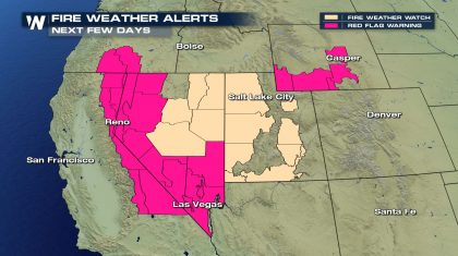 Fire Weather Risk in the Western U.S. Sunday