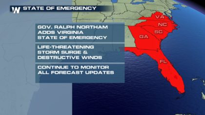 State of Emergency In Five Southeastern States