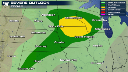 Threat for Severe Storms in the Upper Midwest